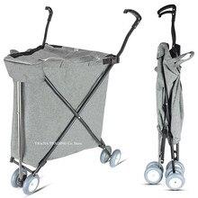Складная корзина для покупок, светильник 3,2 кг продуктовая корзина с колесами, складная тележка для общего пользования, тележка для прачечной
