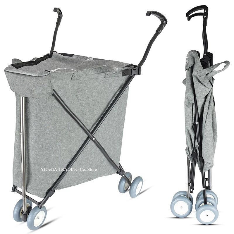 Collapsible Shopping Cart, Light 3.2KG Grocery Shopping Cart with Wheels, Folding Utility Wagon Trolley, Laundry Trolley Carrier image