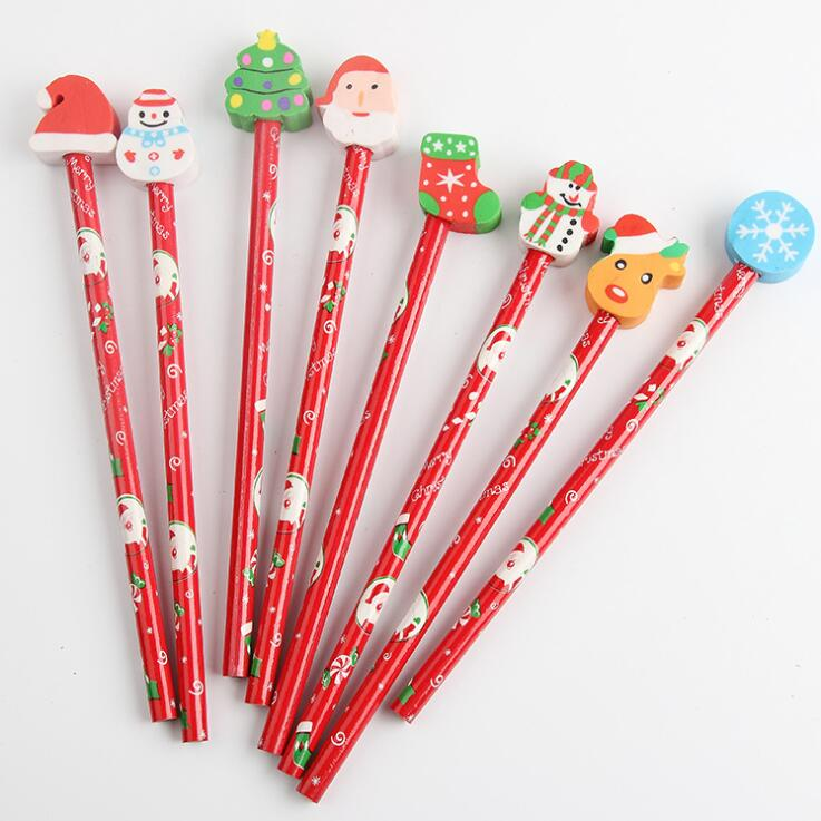 New Arrival 5pcs/lot Kawaii Christmas HB Wood Pencils With Eraser Kids Gift Promotion Gifts Pen School Stationery