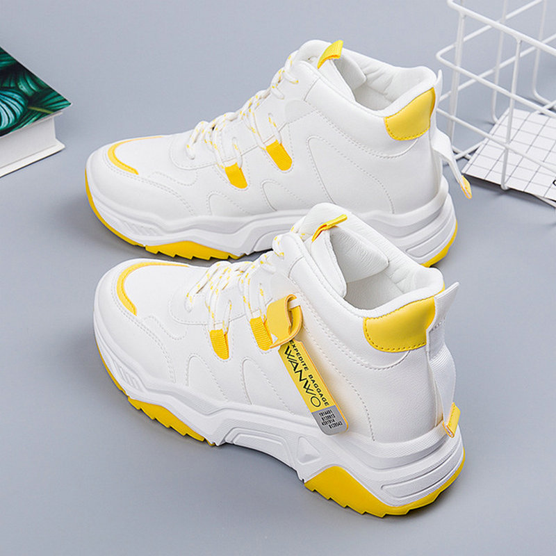 High-top Sneakers Women's Thick-soled Casual White Shoes Women's Spring And Autumn 2020 New Ins Students Running Shoes ZZ-167