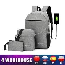 Men's Bag Backpacks School-Bags Night-Reflective Usb-Charging Multifunctional Casual