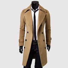 Fashion Men Turndown Long Coat Autumn Winter Outerwear Solid Color Jacket Double-Breasted All-Match Male Overcoat(China)