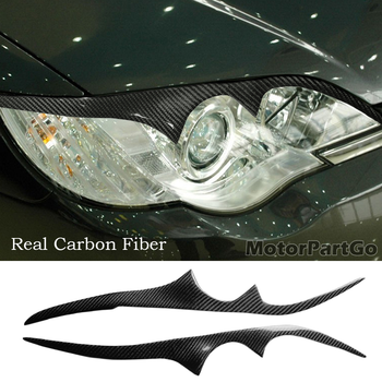Real Crabon Fiber Head light Eyelid Eyebrow Cover Trim 1pair for Subaru Legacy 2006-2008 T221 1