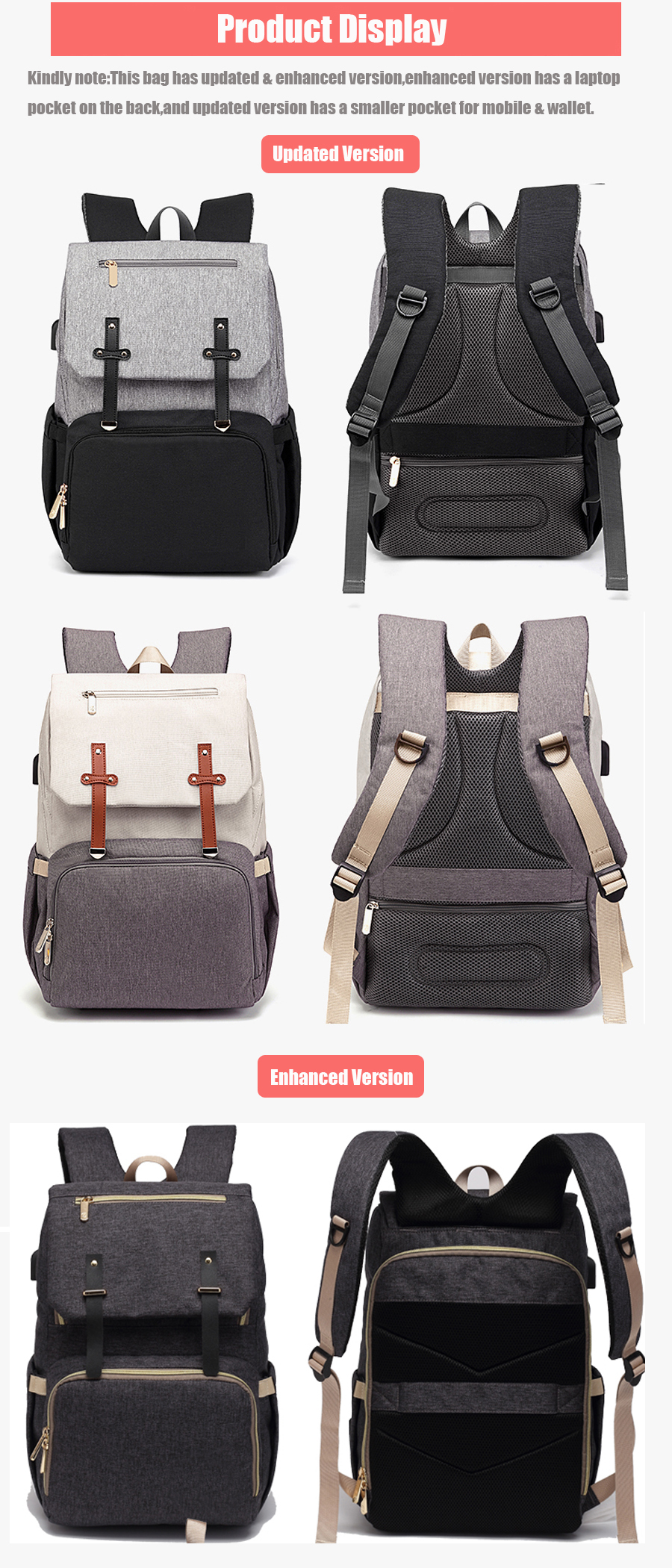 H1d5a96dafab442f7a576f77be6b63ce7V Baby Diaper Bag with USB Port Waterproof Nappy Bag Mommy Backpack Laptop Bag Maternity Bags With Rechargeable Bottle Holder