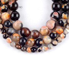 Natural Orange Fire Agates Onyx Stone Round Loose Beads For Jewelry Making 6-10mm Spacer Fit Diy Bracelet Necklace 15""