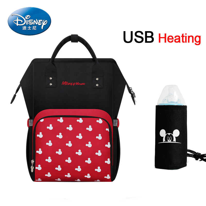 Disney Diaper Bag Maternity Nappy Backpack Large Capacity Nursing Travel Backpack  USB Heating Baby Bag