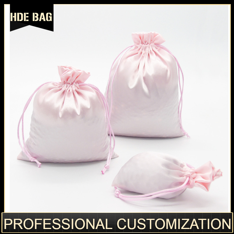 Satin Drawstring Bags Jewelry/Cosmetic/Gift/Wedding/Party/Storage/Hair Bundles/Wigs/Shoe Bags Silk Cloth Pouch Custom Logo Print