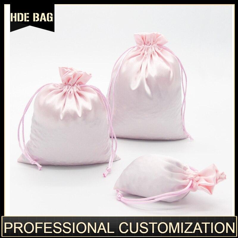 Satin Drawstring Bags Jewelry/Cosmetic/Gift/Wedding/Party/Storage/Hair Bundles/Wigs/Shoe Bags Silk Cloth Pouch Custom Logo Print