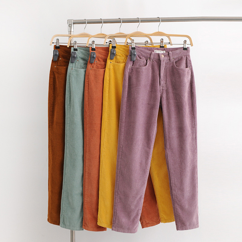 2019Vintage Macaron Color Corduroy Pants Autumn Woman Mid Waist Ankle Length Loose Harem Pants Trousers Femme Casual Long Pants