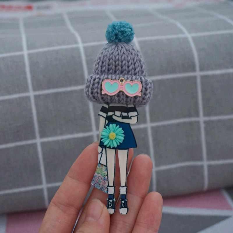 Wanita Lucu Bros Indah Pin untuk Teman-teman Harajuku Lencana Pompom Bola Kartun Bros Pin Dropshipping
