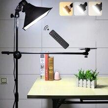 Lampe à LED de prise de vue de photographie de téléphone lumière de remplissage + support + bras de flèche + réflecteur Softbox Kits déclairage continu pour la vidéo Photo