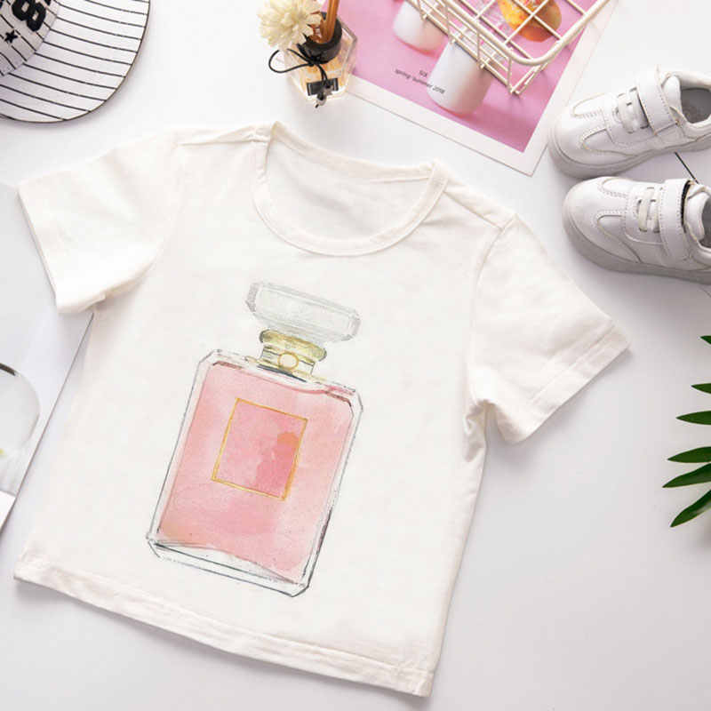 Vogue Kids T Shirt Summer Short Sleeve Tshirt Boy Funny Flower And Perfume Pattern Printing White Clothes Cute Cartoon Girl Tops