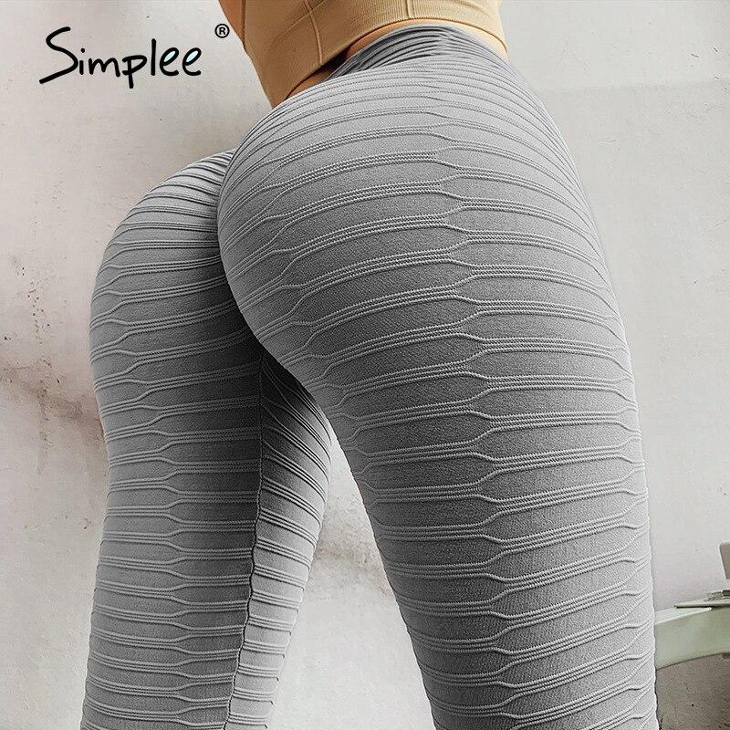Simplee High Waist Fitness Leggings Women Workout Push Up Legging Solid Bodybuilding Jeggings Women Pants