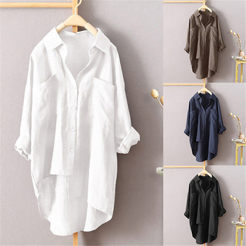 Women Shirts Plus Size Loose Long Sleeve Spring Autumn Irregular Shirt Breathable Casual Pocket Blouse Solid Color Female Tops 2020 spring autumn new lapel long sleeve loose fit shirt fashion big size women blue striped irregular splicing blouse tide