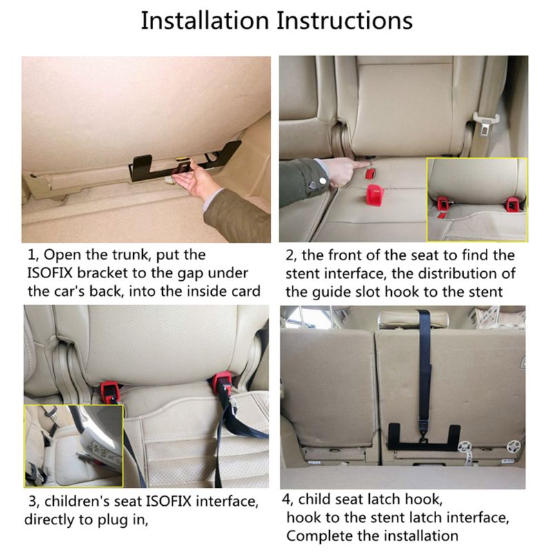 Universal Car Safety Seat Belt Mount Latch Bracket Child Seat Restraint Mounting Kit for ISOFIX Connector D0JC