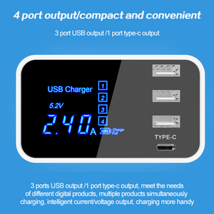 Image 2 - 4 Ports Led Display Type C USB Charger For Android iPhone USB Adapter Socket Fast Phone Charger For xiaomi huawei samsung s10