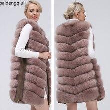 Natural Womens Fox Fur Coat Vest 2019 New Zipper Long Coat Winter Warm Coat Natural Fur True Fox Vest Jacket Free Shipping
