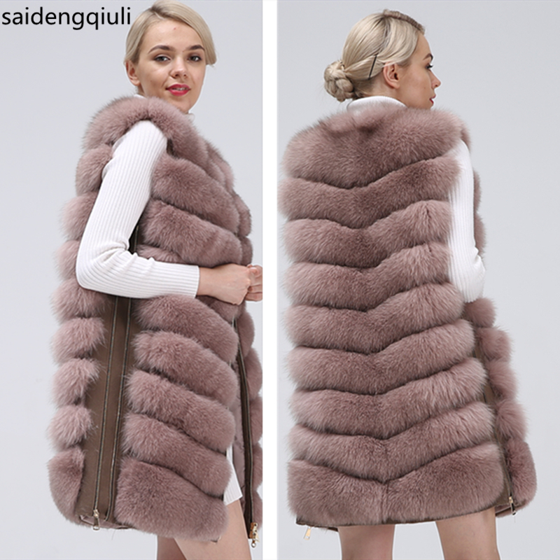 Natural Fox Fur Coat Vest 2019 New Zipper Long Coat Winter Warm Coat Natural Fur True Fox Vest