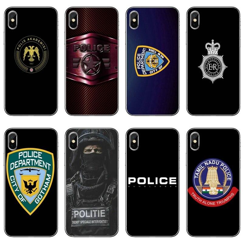 Police Logo Phone Case For Sony Xperia Z5 C6 L2 XA1 XA2 XZ1 XZ2 Compact Premium LG G5 G6 G7 Q6 Q7 Q8 Q9 V30