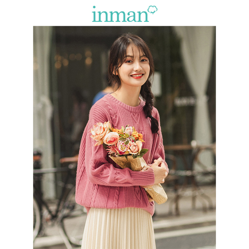 INMAN 2019 Autumn New Arrival O neck Drop shoulder Sleeve Sweet Young Girl Jacquard Literary Loose Women Pullover in Pullovers from Women 39 s Clothing