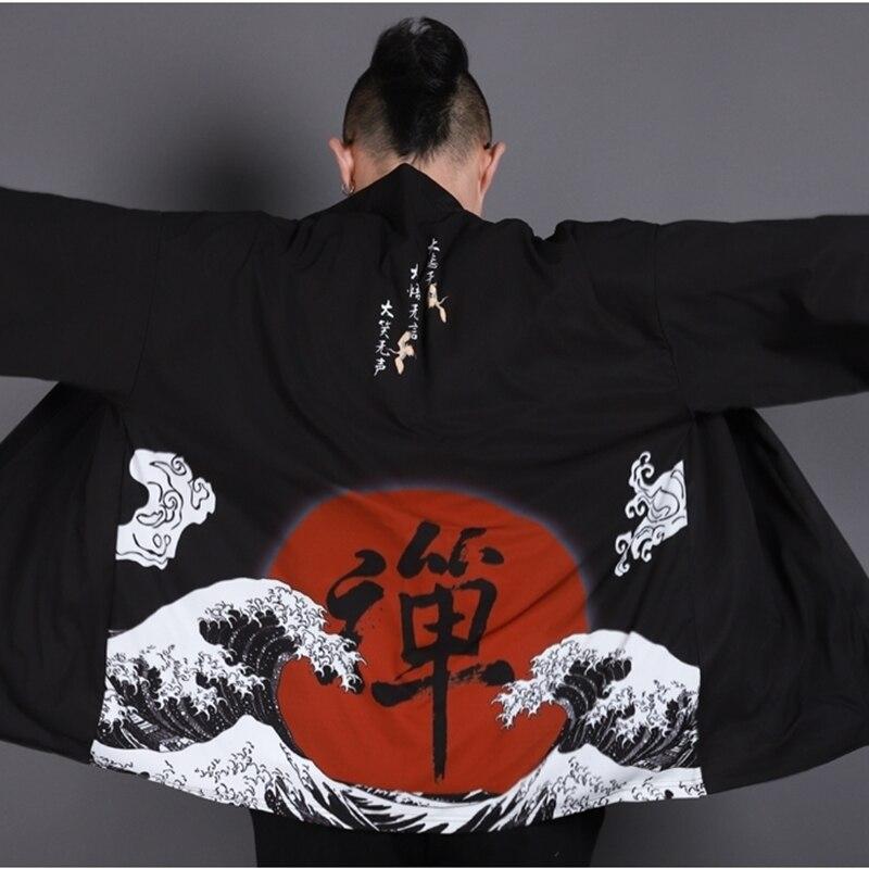 Kimono Men Cardigan Jacket Japanese Kimono Traditional Samurai Costume Clothing Kimono For Karate KK001