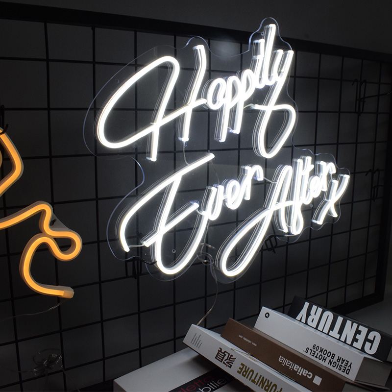 Custom Waterproof Flex Led 3D Happy Ever After Acrylic Neon Sign Girls Wall Home Room Dedroom Decoration Ins neon wall lights image