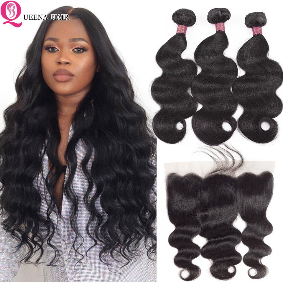 13*4 Lace Frontal With Bundles Peruvian Hair Body Wave Weave Wavy Bundles With Ear To Ear Frontal Remy 3 Bundles With Closure