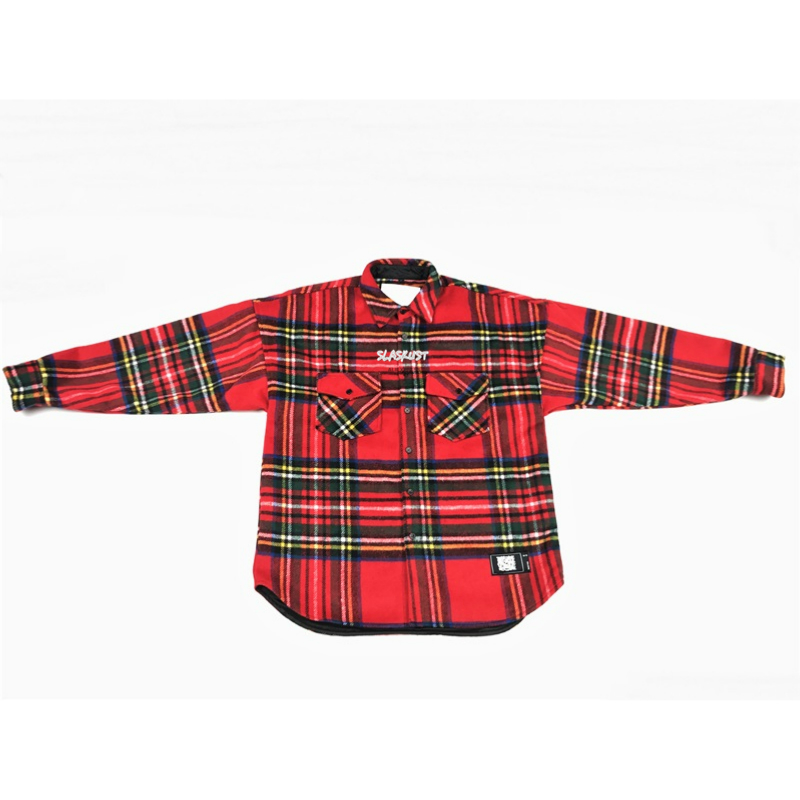 Check Pattern Brushed Flannel Overshirt Autumn Hip Hop Satin Lined Thick Shirt Men Streetwear