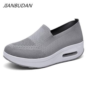 JIANBUDAN 2021 Summer Women Flat Platform Shoes Breathable Casual Sneakers bottom wedge Walking