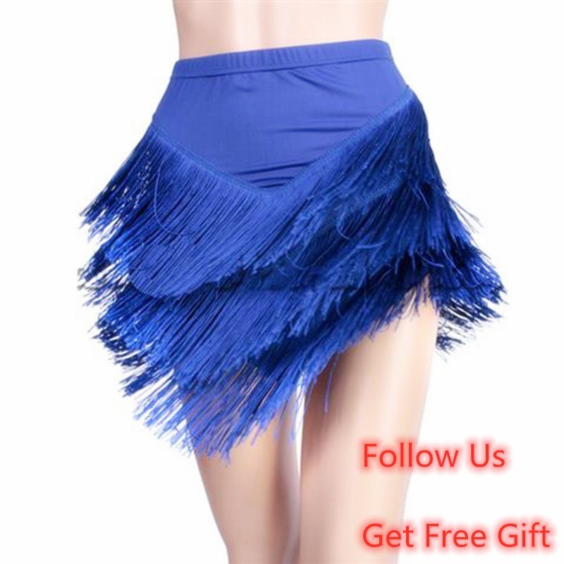New Latin Dance Skirt For Adult Women's Fringed Tassels Red Blue Skirt Women's Latin Dance Skirt With Irregular V-Shaped Skirt