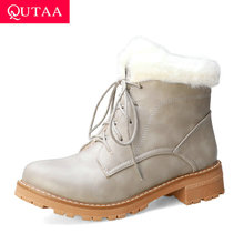 Square Heel Ankle-Boots Lace-Up Women Shoes Size34-43 Round-Toe Autumn Winter Casual