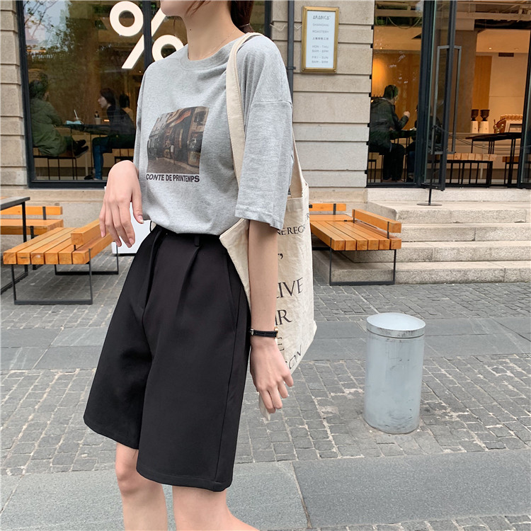 H1d5ba6ffcc1e4339b21d660657ef5847J - Summer High Waist Wide Leg Loose Solid Shorts