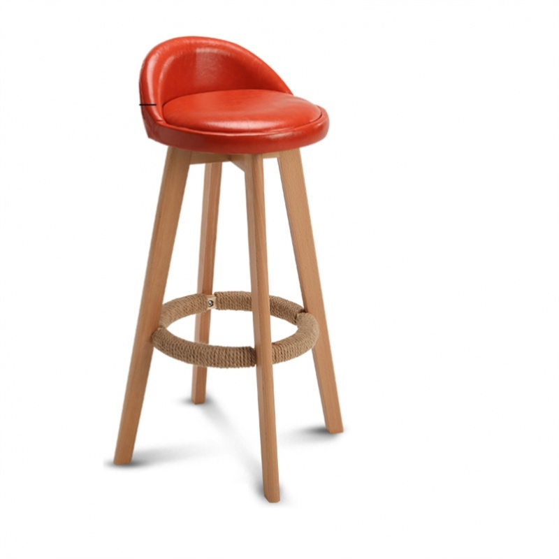 Bar Stool Nordic Modern Minimalist Household Solid Wood High     Chair Leisure Back
