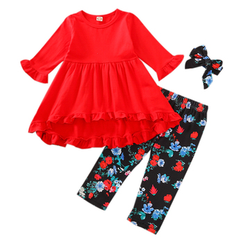 fall winter long sleeves pants cotton set grey stripes rufflepumpkin print pant baby kids wear girls clothing with accessory bow 2020 New Fall Autumn 12M-4Y Toddler Baby Girls Autumn 3Pcs Set Red Dress-Style Ruffled Long Sleeve Top+Floral Print Pants+Bow