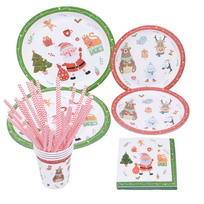 Christmas Party Decoration Disposable Tableware Paper Plate Straws Cups Napkins Happy New Year Xmas Festival Party Supplies