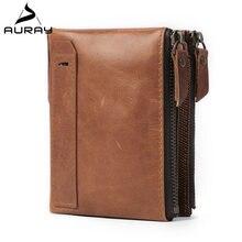Auray rfid мужской кошелек из натуральной кожи роскошные винтажные