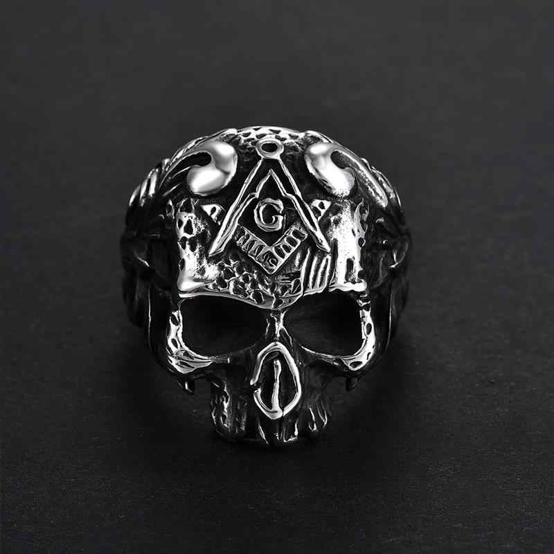Jiayiqi Punk Masonic Signet แหวน Vintage Gothic Titanium สแตนเลสสตีล Biker Skeleton Skull แหวนนิ้วมือ Mens เครื่องประดับของขวัญ