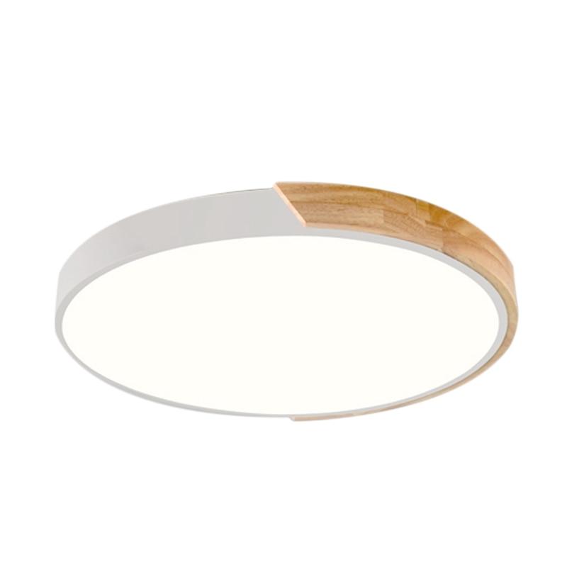 Nordic Oak Wood Adjustable Led Ceiling Lamp Round Bedroom Lamps Dumb White 30Cm