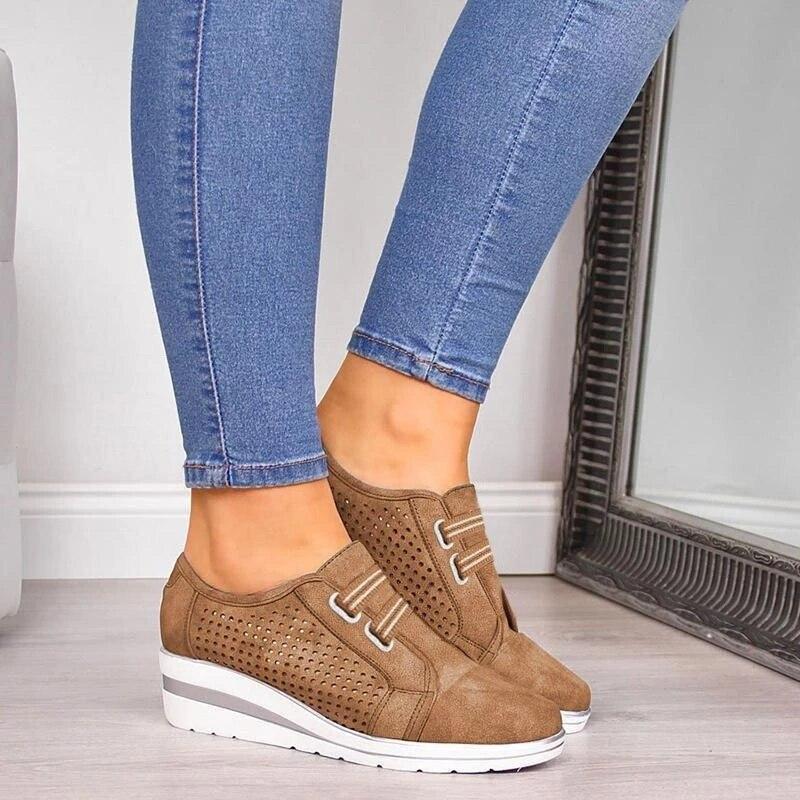 Oeak 2019 Flock New High Heel Lady Casual Women Sneakers Leisure Platform Shoes Breathable Height Increasing Shoes Women Flats 2