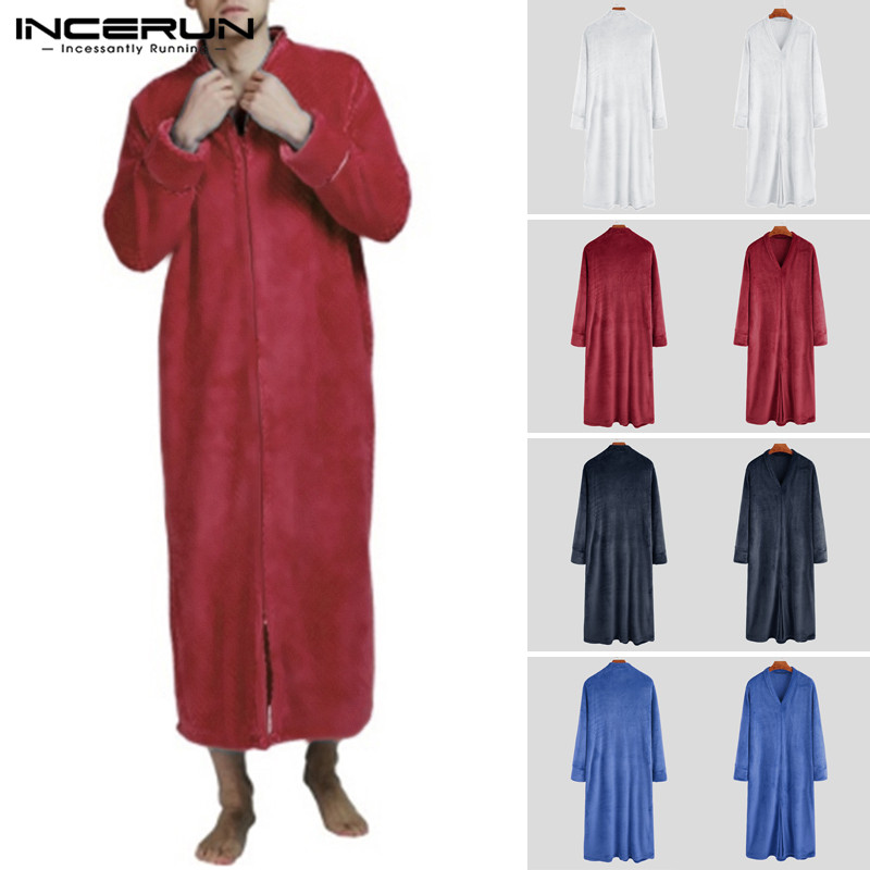 Winter Fashion Men Flannel Robes Long Sleeve Cozy V Neck Solid Bathrobes Warm Nightgown Ladies Coral Fleece Robe INCERUN 2019 7