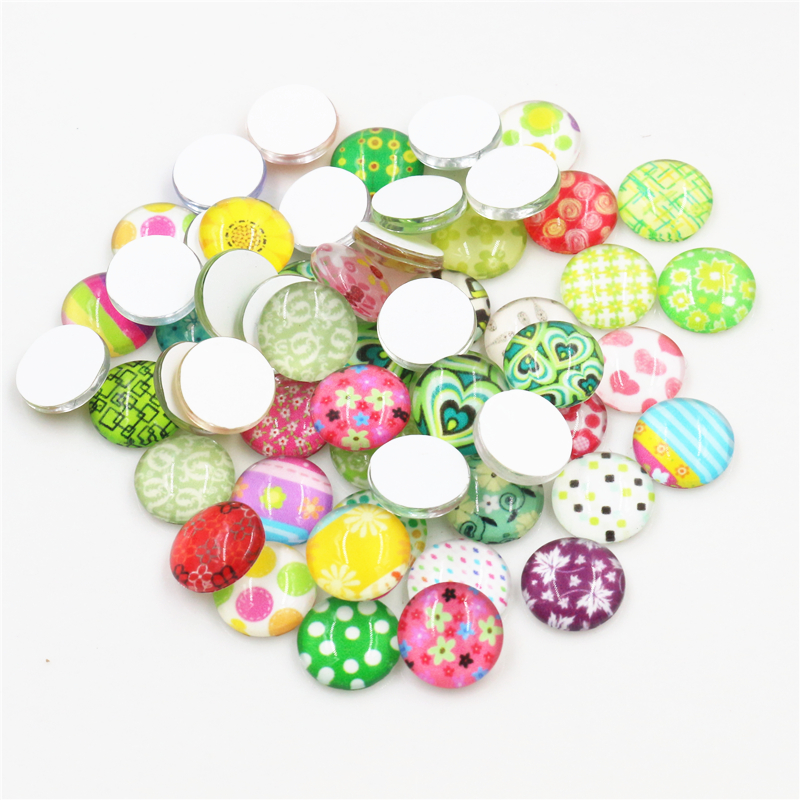 50pcs/Lot 12mm Cut Fashion Style Photo Glass Cabochons Mixed Color Cabochons For Bracelet Earrings Necklace Bases Settings-E1-57