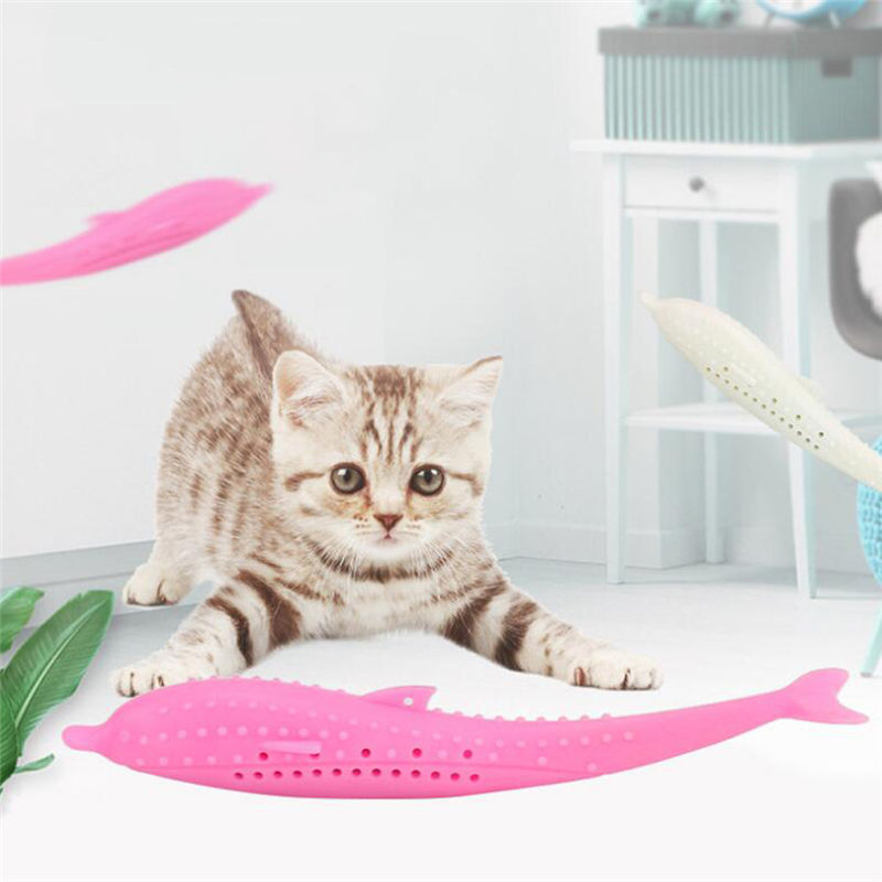 Catnip Funny Cat Fish Toys Silicone Kitten Toothbrush For Pet Cats Playing Toy Training Pet Supplies image