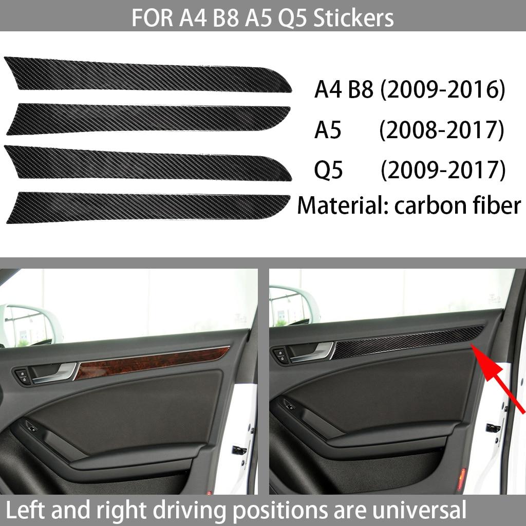 Carbon fiber car interior decoration, door panel decoration, Suitable For Audi A4 B8 A5 Q5 2009-2016 car stickers,