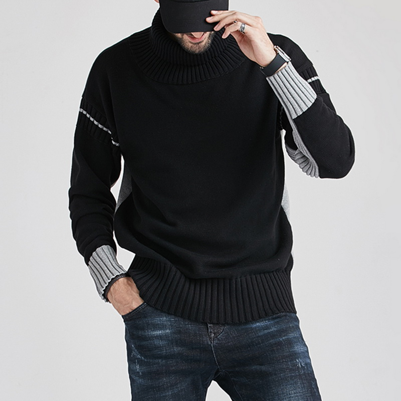 2020 Winter Autumn Korean Style Warm Sweater Turtleneck Wool Patchwork Sweater Men Knitwear Coat Male Knitted Jumper Pullover