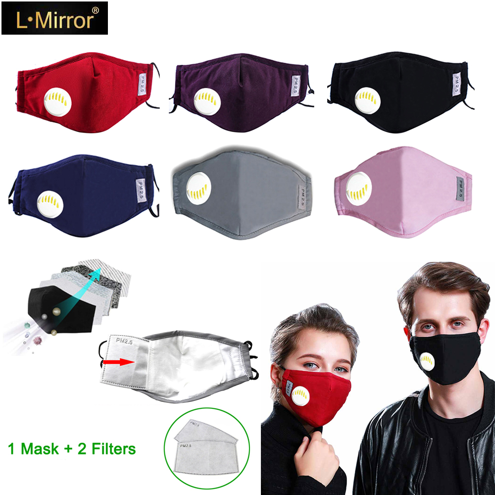 L.Mirror Fashion Dustproof Mask Unisex Cotton Breath Valve PM2.5 Mouth Mask Anti-Dust Anti Pollution Mask Cloth Activated Mask