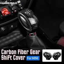 AMBERMILE Real Carbon Fiber für Mini Cooper F54 F55 F56 F57 F60 Countryman Zubehör Innenausstattung Auto Schaltknauf abdeckung