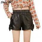 Шорты из натуральной кожи, черные, со шнуровкой сбоку, эластичная талия, широкие шорты, женские осенние повседневные, высокие, воланы, минималистичные ботинки, шорты - 1