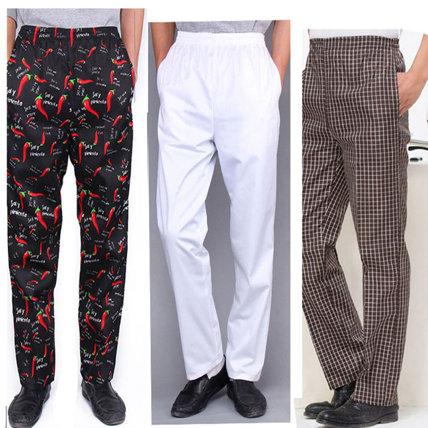 9Colors Chef Uniform Work Wear Cook Kitchen Striped Trousers Breathable Tooling Elastic Waist Pants For Chef Fancy Costumes