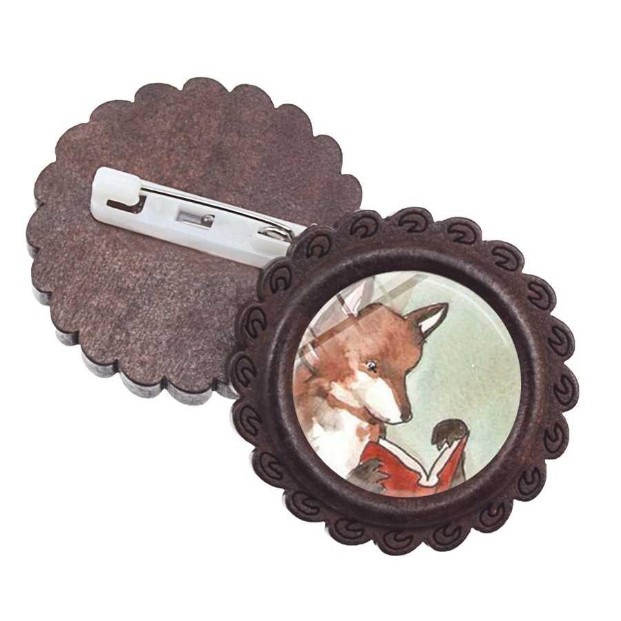 をかわいい漫画の動物キツネのブローチフォックスウッドランド高品質ガラスカボション木材バッジ女性のための男性デニム襟ピン