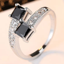 Luxury Starry Star Rings Real 10KGF White Gold Filled Rings for Women Fashion Jewelry finger ring with Genuine Black CZ(China)